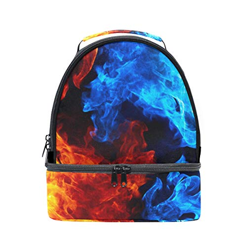 Lunch Box Red And Blue Flames Womens Insulated Lunch Bag Kids Zipper Lunch Tote