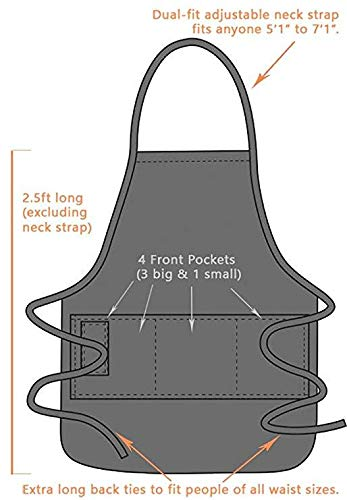 BBQ Grill Apron - Super Dad - Funny Apron For Dad - 1 Size Fits All Chef Apron High Quality Poly/Cotton 4 Utility Pockets, Adjustable Neck and Extra Long Waist Ties by ApronMen (Image #5)