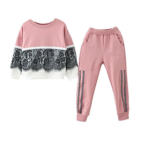 Toddler Kids Girls Long Sleeve Lace Patchwork Pullover Sweatshirt Top and Pants Outfit with Pocket (7T, Pink)