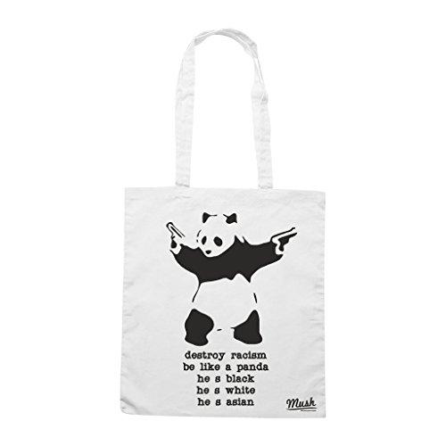 Borsa Destroy Racism Like A Panda - Bianca - Funny by Mush Dress Your Style