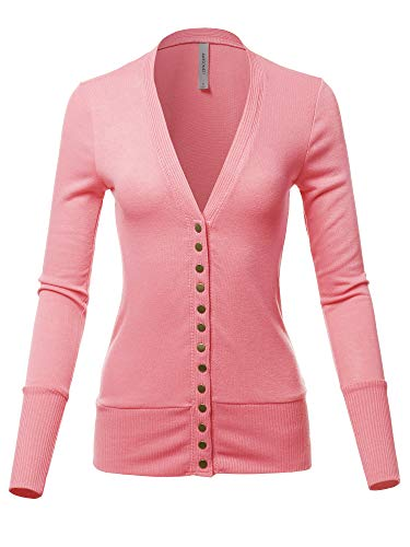 Causal Button Long Sleeves Everyday Cardigan Rose Pink S ()