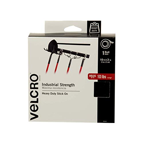 VELCRO Brand - Industrial Strength | Indoor & Outdoor Use | Superior Holding Power on Smooth Surfaces | Size 10ft x 2in | Tape, Black - Pack of 1