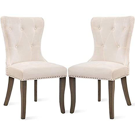 Admirable Dining Chairs Set Of 2 Upholstered Accent Chair Button Tufted Armless Chair With Nailhead Trim And Back Ring Pull Velvet White Inzonedesignstudio Interior Chair Design Inzonedesignstudiocom