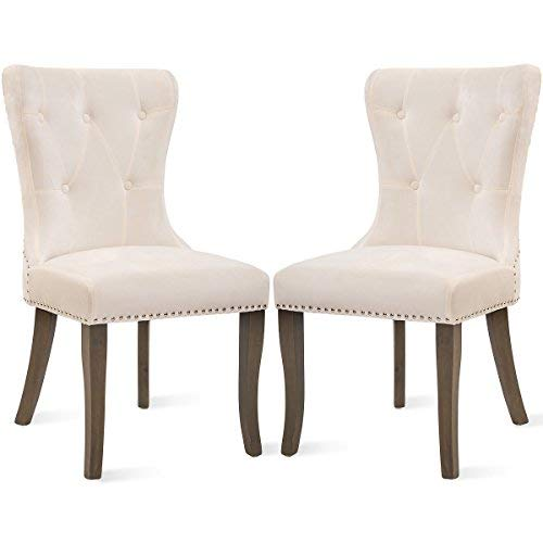 Dining Chairs Set of 2, Upholstered Accent Chair Button Tufted Armless Chair with Nailhead Trim and Back Ring Pull, Velvet White