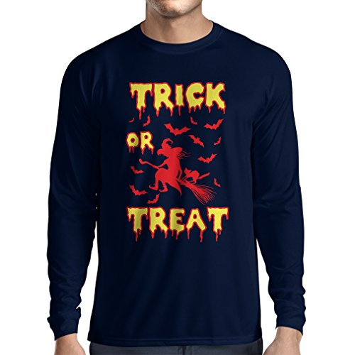 lepni.me Long Sleeve t Shirt Men Trick or Treat - Halloween Witch - Party outfites - Scary Costume (Small Blue Multi -