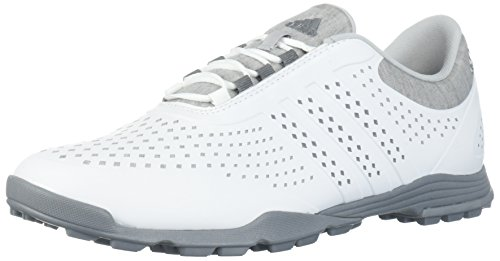 adidas Women's Adipure Sport Golf Shoe, White/Grey, 8 Medium US