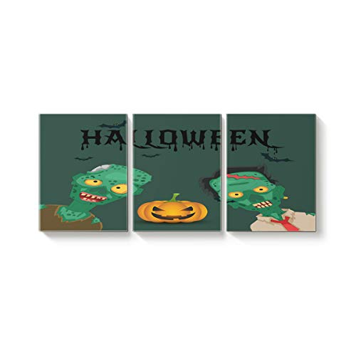 Arts Language 3 Pcs Canvas Wall Art Office Hotel Bedroom Living Room Home Decor,Green Devil Pumpkin Happy Halloween Canvas Art Oil Paintings,Pictures Modern Artworks,24 x 32in x 3 Panels