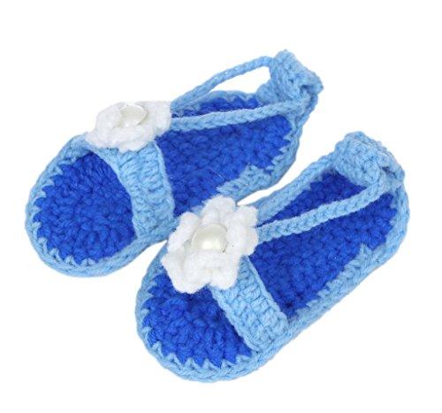 Bigood Strickschuh One Size Strick Schuh Baby Unisex süße Muster 11cm Mit Schuhband Blau