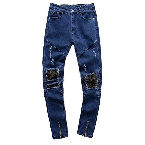 Mezclilla Agujeros Strech Joven para Pantalones Hombres De Pantalones Denim De Destruir Skinny Pantalones Streetwear Jeans Mezclilla Chern Calle Fit Hip Slim Hop Blau Hombres para De UPwZvxq1U