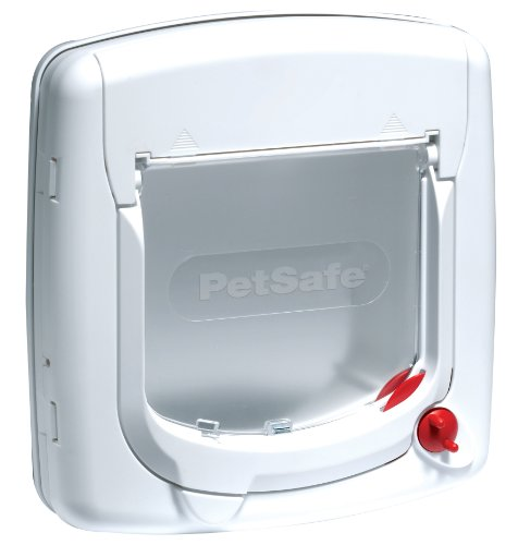 PetSafe Staywell Manual 4-Way Locking Classic Cat Flap White, Tunnel Included -