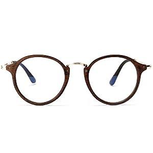 Allt Vintage Round Optical Eyewear Frame Eyeglasses with Clear Lenses For Women Men (Brown, 49)