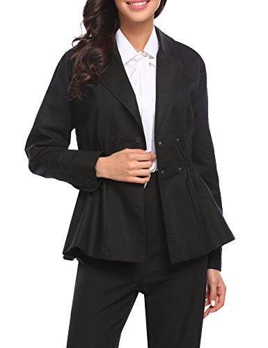 Lapel Double Breasted Swing Pea Coat For Women (Swing Coat Short)