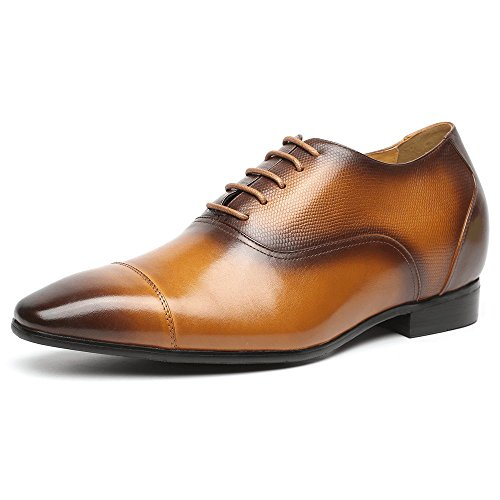 CHAMARIPA Men's Genuine Leather Brown Height Increasing Elevator Small Square Toe High Heel Oxfords Wedding Dress Shoes(2.96'') K4029 US8 by CHAMARIPA