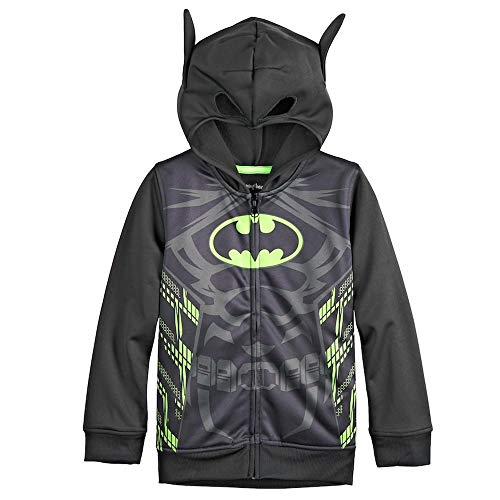 DC Comics Batman Costume Fleece Zip Hoodie with 3D Ears, Size(7) -