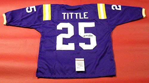 - YA Tittle Autographed Signed Louisiana State U Tigers 3/4 Sleeve Jersey Lsu Memorabilia - JSA Authentic