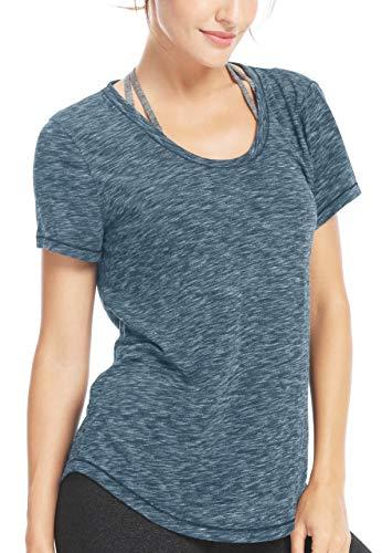 QUEENIEKE Women Yoga Sweat Times Short Sleeve T-Shirt Loose Sports Tee Top Size M Color Sea Blue (Full Short T-shirt Sleeve)