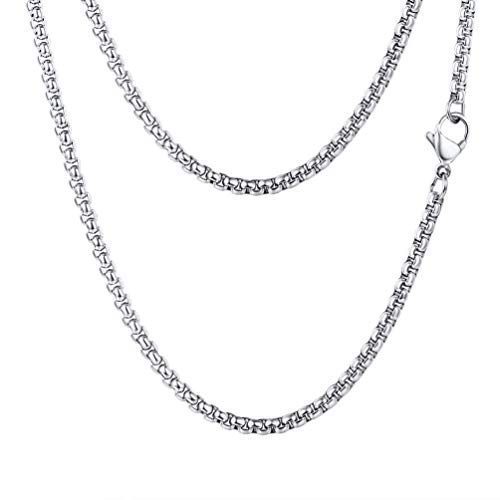 FOCALOOK 18 Inches 3MM Square Rolo Chain, DIY Metal Cord, 316L Stainless Steel Silver Color Men Women Jewelry, Neck Link Chain for Layering, Round Box Necklace for Pendant or Wear Alone ()