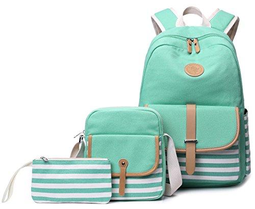 School Box Womens (School Backpack for Girls, Gazigo Womens High School College Bookbags Laptop Bag (Green))