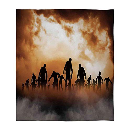 C COABALLA Lightweight Blanket,Halloween Decorations,for Bed Couch Chair Fall Winter Spring Living Room,Size Throw/Twin/Queen/King,Zombies Dead Men Body in The Doom -