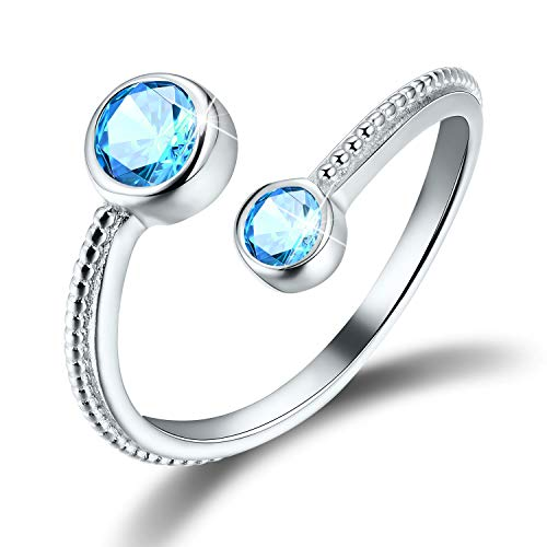 (Esberry 18K Gold Plated 925 Sterling Silver Birthstone Ring CZ Adjustable Rings for Women and Girls)