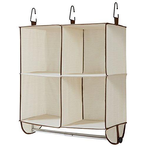 - WANNAKEEP 4 Shelf Wardrobe Closet Hanging Shelves Organizer Portable Clothes Closet with Clothing Bar for Clothes Storage and Accessories, Breathable Polyester and Cotton, Beige 24x12.5x24 inches