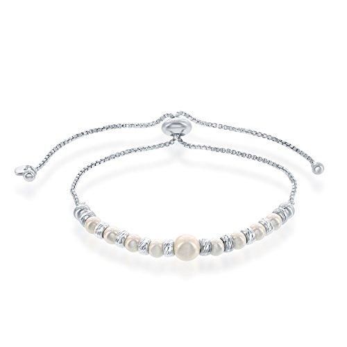 Italian Sterling Silver Alternating Diamond Cut Beads & Set with Swarovski Simulated Pearls Adjustable Bolo Friendship (Belle Set Bracelet)