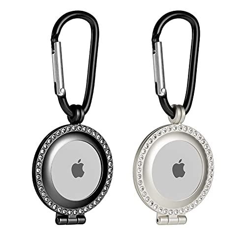 2 fundas de metal resistente apple airtag negro-plateado