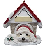 """Havanese Ornament A Great Gift For Havanese Owners Hand Painted and Easily Personalized """"Doghouse Ornament"""" With Magnetic Back"""