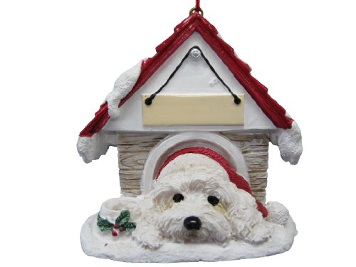 "Havanese Ornament A Great Gift For Havanese Owners Hand Painted and Easily Personalized ""Doghouse Ornament"" With Magnetic Back"