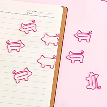 Paper Clips Small Sizes Cute Pink Piggy Paper Clip Holder Bookmark Clips for Cute Girls School Office Personal Document Organizer Clipka