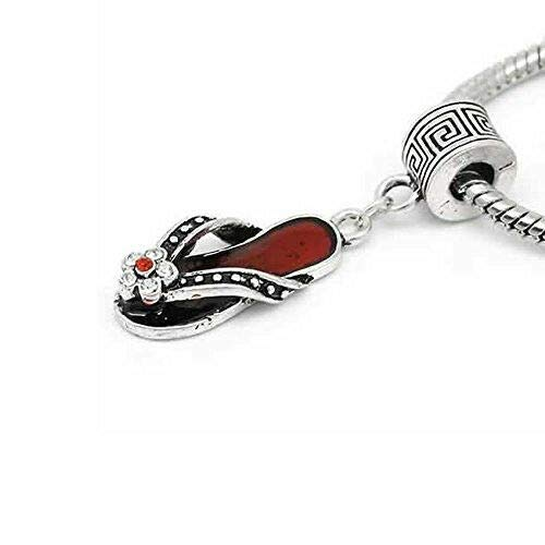 Flip Flop Red Sandal Shoe Charm W/Crystal European Bead Compatible for Snake Cha Jewelry Making Supply Pendant Bracelet DIY Crafting by Wholesale Charms