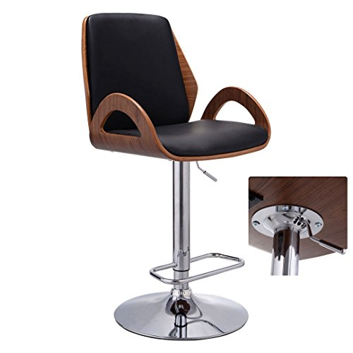Contemporary Bentwood Bar stool Adjustable Height 360 Degree Swivel Durable PU Leather Upholstery Seat Stable Stylish Armrest Footrest Chrome Steel Frame Office Pub Chair New #1098 by Koonlert@shop