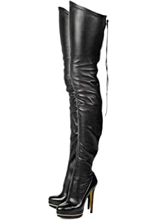 7b79518761e Stupmary Women High Boots Rear Zip Platform Round Toe Over The Knee Boots  Woman Shoes High