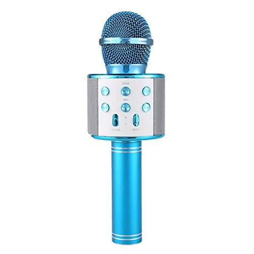 Professional Bluetooth Wireless Microphone Speaker Handheld Microphone Karaoke Mic Music Player Singing Recorder KTV Microphone,Blue ()