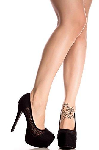 Lolli Couture Diamond Glitter Accent Almond Toe Platform High Heels Blacklace-lulli-4 B4AQsGt