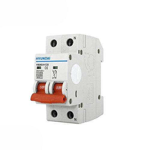 Interruptor autom/ático magnetot/érmico 1P+N 10A HYUNDAI