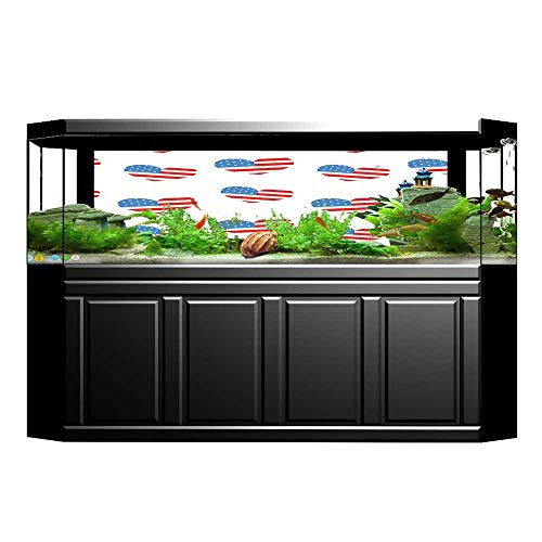 UHOO2018 Aquarium Sticker Collection Hearts Independence Day of America Memorial Celebration and Traditional Party I Fish Tank Backdrop Static Cling 23.6