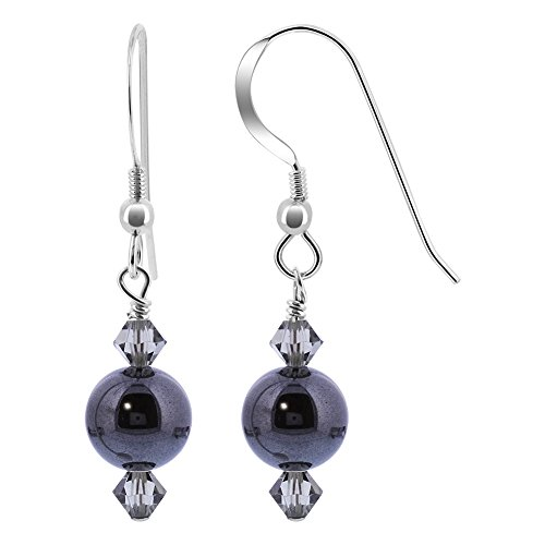 Hematite Onyx Earrings (Gem Avenue 925 Sterling Silver Simulated Hematite Made with Swarovski Elements Black AB Color Crystal Handmade Drop Earrings)