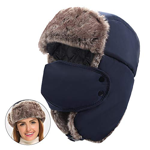 (Winter Trooper Trapper Hat, Thermal Aviator Hat Ear Flaps Windproof Mask Blue )