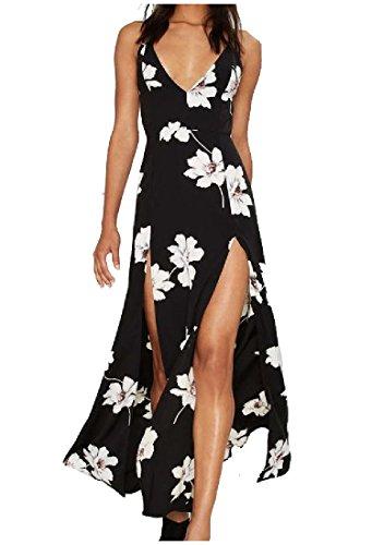 Coolred Beach V High Backless Split Dress Womens Black Neck Sexy Maxi rfrq8RxZ