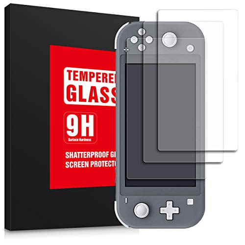 OLYNIK Screen Protector for Nintendo Switch Lite 2019, Tempered Glass Switch Screen Protectors, 100% Transparent HD, Anti-Scratch with Anti-Fingerprint Bubble-Free-3 Pack
