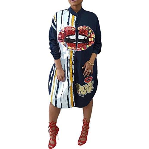 Metup Women Sexy Graphic Sequin Long Sleeve Button Down Shirt Dress Casual Boyfrined Long Blouse Top, Light Blue, X-Large - Plus Shirt Dress