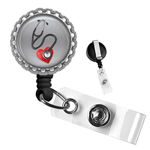 - Medical Stethoscope with Heart Silver Retractable ID Tag Badge Reel by Geek Badges