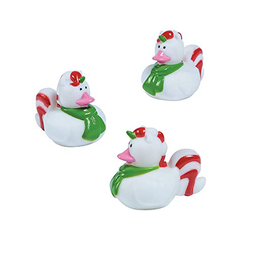 Fun Express Christmas Unicorn Rubber Duckies | 12 Count | Great for Seasonal Holiday Party Decor, Giveways, Prizes, and Favors