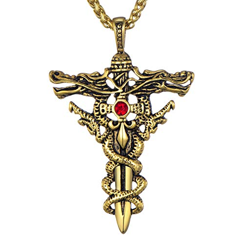 Mens Stainless Steel Pendant Necklace Double Dragon Sword Cross Pendant with 24 Inches Chain, Golden Color ()