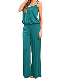 b198aee3e81 Women s Stretch Cotton Suspender Elastic Waistband Wide Leg Jumpsuits