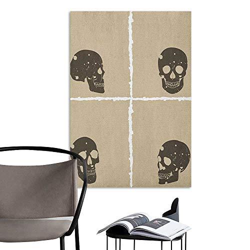 Alexandear Art Decor 3D Wall Mural Wallpaper Stickers Grunge Skull Figure on Murky Flat Framework Halloween Crossbones Spooky Monster Image Tan Dark Taupe Girls Bathroom W8 x H10 -