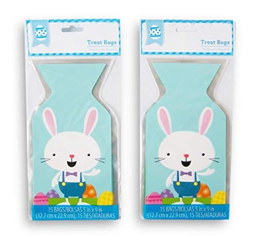 Happy Easter Blue Bunny Party Favor Loot Bag - 30 Count (Easter Bunny Walmart)