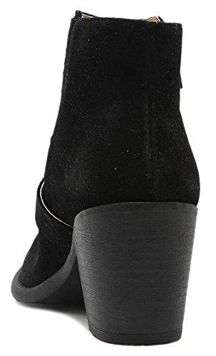Les Femmes Découpent Bootie Lacets Jusquà Glisser Sur Talon Haut Plate-forme Coin Cheville Bottine Black-zipbuckle