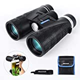 FREEDEER 10x42 Binoculars for Adults, Compact HD Waterproof Low Night Vision Telescope, BAK4 Prism FMC Lens for Bird Watching Hunting Stargazing Travel Concerts Sports, Smartphone Adapter Carrying Bag
